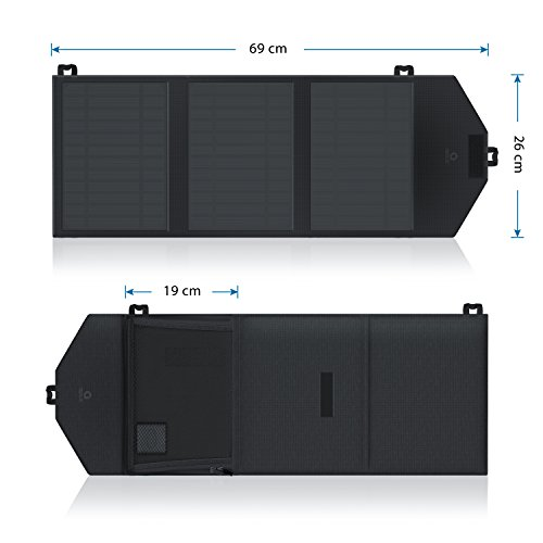 CSL - Solarladegerät Smart Charge | Solarladegerät | Solar Outdoor Charger | Hohe Effizienz / 15W | hochwertige Monokristallin-Zellen | Energieeffizientes / umweltschonendes Laden | inkl. Zusatz-Staufach -