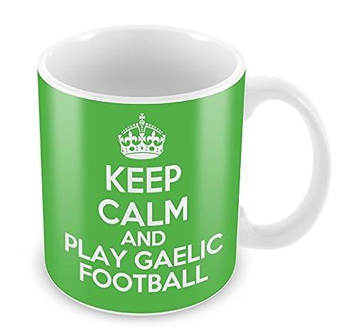 GREEN KEEP CALM and Play Gaelic Football Mug Coffee Cup Gift Idea present s...