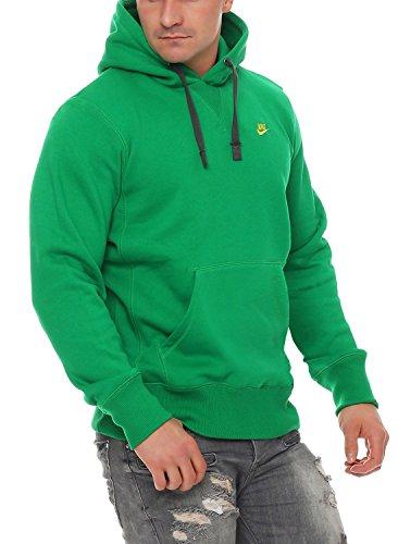 Nike Herren Grün/Gelb Kapuzen Sweatshirt Hoody Größe L (Kabel Gestickt)