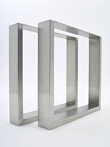2 X Brushed Stainless Steel Table Legs - sleek, modern
