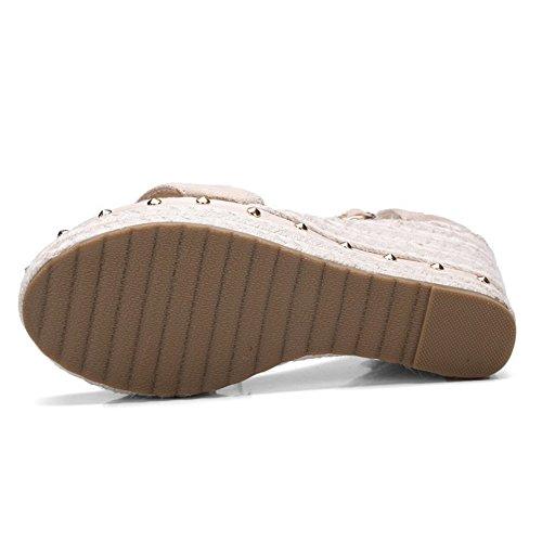 COOLCEPT Femmes Mode Cheville Sandales Orteil ouvert Compenses Chaussures Abricot