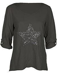 Mevina Damen Shirt Pailletten Stern bestickt Sweatshirt Longsleeve T-Shirt viele Farben