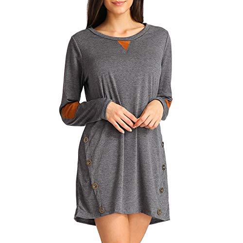 Frauen-Crew Hals-Kleid Seitentaste Lange Ärmel Lang solide Farbe Minikleid URIBAKY