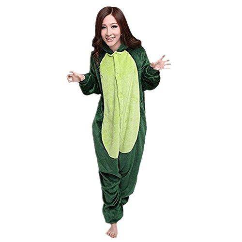 Misslight Einhorn Pyjama Damen Jumpsuits Tieroutfit Tierkostüme Schlafanzug Tier Sleepsuit mit Einhorn Kostüme festival tauglich Erwachsene (L, Grün Dinosaurier)