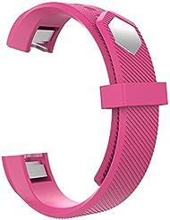 MoKo Fitbit Alta / Alta HR Correa - Reemplazo SmartWatch Band de Reloj Silicona Suave Deportiva Pulsera Accesorios ( HERRAMIETOS KIT INCLUIDO ) para Fitbit Alta / Alta HR Smart Fitness Tracker, Rosa Roja