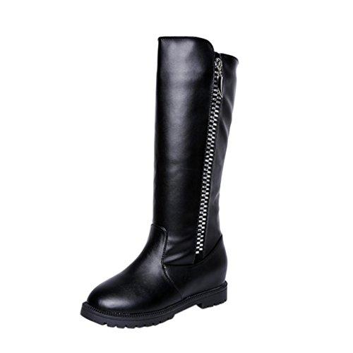 Botas Altas Mujer Koly Invierno women Muslo Alto Botines Martin La rodilla boots Aumentado Plano Talones Zapatos Moda tacón medio Botas Inferior Pierna alta de rodilla botas largas (40, Negro)