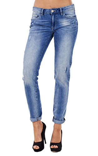 Ladies Distressed Boyfriend Demim Blue Baggy Frayed Turn Up Jeans