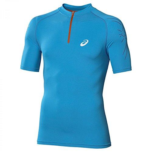 Asics Inner Muscle - Maglietta da corsa a maniche corte, da uomo, con mezza zip Atlantic Blue