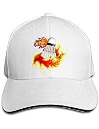 JHDHVRFRr Hat Badminton Fire Denim Skull Cap Cowboy Cowgirl Sport Hats Men Women