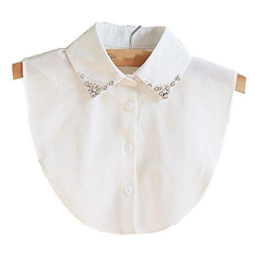 Hanmorla Frauen Kragen Abnehmbare Hälfte Shirt Bluse mit Strass Weiß (Weißes Hemd Mit Kragen Kostüm)