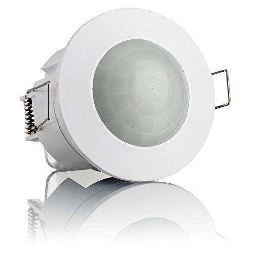 SEBSON® Bewegungsmelder Innen, Unterputz, Decken-Montage, programmierbar, Infrarot Sensor, Reichweite 6m / 360°, Einbau Bewegungssensor LED geeignet
