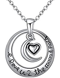 Young & Forever Chic Silver I Love You To Moon And Back Pendant Necklace For Women By CrazeeMania