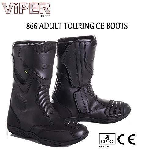 Moto Viper 866Touring stivali da moto uomini e donne adulti impermeabile rinforzato alla caviglia sport Racing Quad approvato Long Boot, Nero , 41/7