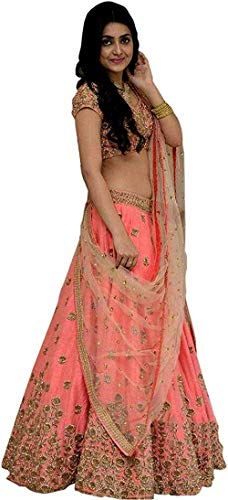 Clickedia Women's Banglori Cotton Silk Semi-stitched Lehenga Choli with Blouse Piece (Peach, Free Size)