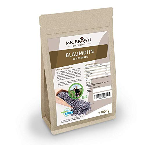 Mr. Brown fränkischer Blaumohn 1 kg | 1000 g | regionale Qualität | Rohkostqualität zum Backen und Kochen | wiederverschließbarer Beutel | aus Franken und abgefüllt in Bayern