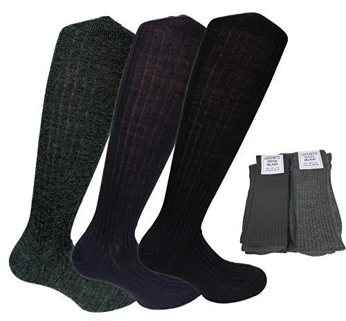 Lucchetti Socks Milano 6 PAIA calze lunghe uomo di LANA costine MADE IN ITALY