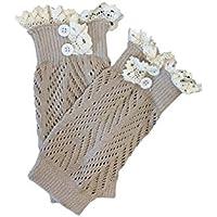 SODIAL (R) 1 Paar Spitzenmuster Diagonaler Streifen Zwei Knoepfe Gestrickte Socken mit Spitzenbesatz Beige preisvergleich bei billige-tabletten.eu