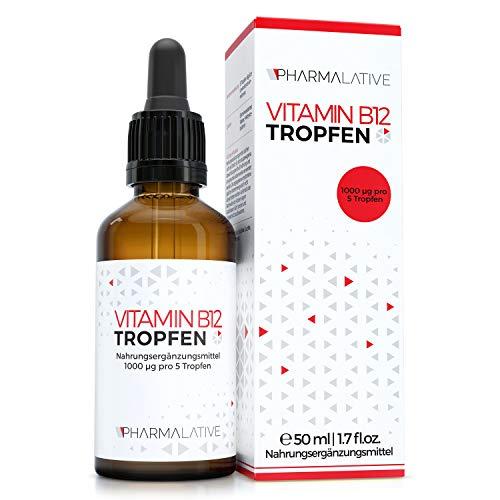 EINFÜHRUNGSPREIS!! Pharmalative - Vitamin B12 Tropfen - 50ml hochdosiert, 1000 μg je Tagesdosis, vegan, ohne Zusätze, hergestellt in Deutschland