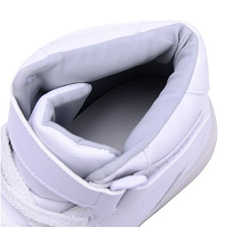X-MOKE 7 Couleur Unisexe Homme Femme USB Charge LED High Top Chaussures Lumière Lumineux Clignotants Chaussures de Sports LED Baskets Blanc