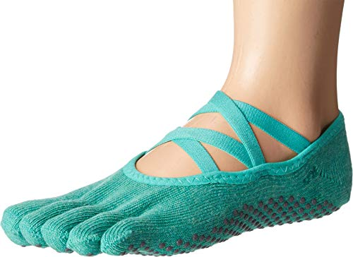 Toesox Damen Grip Pilates Barre Socks-Non Slip Elle Full Toe for Yoga & Ballet, smaragdgrün, m Damen Non Slip