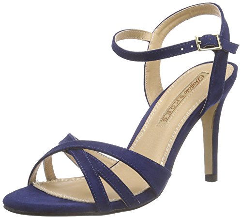 Buffalo Shoes 312703 IMI Suede, Damen Knöchelriemchen Sandalen, Blau (NAVY180), 36 EU