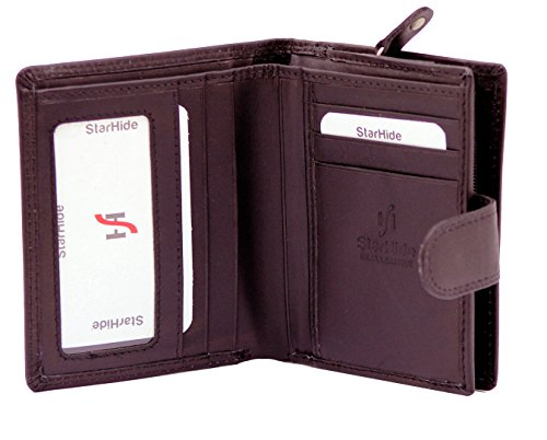 StarHide® Herren Weiche Echte Leder Brieftasche Mit Einem Reißverschluss Um Münze Geldbörse & ID-Karte Tasche Geschenkbox #1080 (Braun) Braun