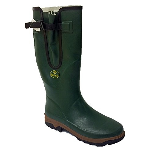 Mens Wetlands Green Wellies with side gusset & strap and buckle