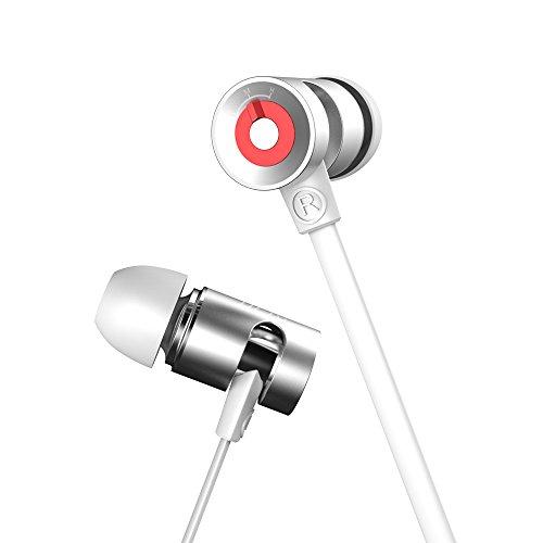 Sound Intone G10 High Performance 3.5mm Hallo-Fi PC Gaming Stereo Noise Cancelling Ohrhörer / In-Ear Headphones mit Custom Fit Silikon Gel & Ergonomische Capsule Design-Headset, Kopfhörer Einstellbare, leichte, tragbare In-Ohr Kopfhörer mit Lautstärkeregler Mikrofon & Smooth Flachkabel verwirren frei Verdrahteter Kopfhörer, Leichtmetall Earbuds mit Universal 1-Button Control 3 Sets von Ohrstöpsel für PC / iphone / ipad / Smartphone / Laptop / Samsung (weiß) (Ohrhörer Remote Mic)