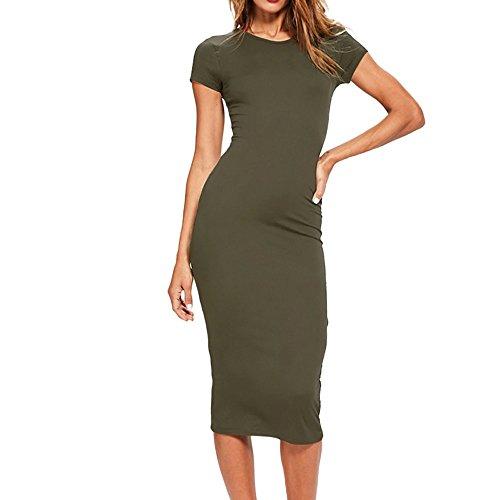 Damen Sommer Clubwear Spaghetti Trägerkleid mit Knopf Vorne Schlitz Sexy Eng Partykleid Figurbetont Bodycon Maxi Wrap Kleid
