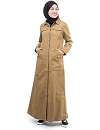 Silk Route© Brown Full Front Open Winter Cotton Urban Maxi Dress Jilbab