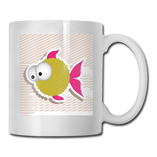 Jolly2T Funny Ceramic Novelty Coffee Mug 11oz,Comical Illustration of A Bubble Fish Abstract Blowfish with Huge Eyes Humor Print,Unisex Who Tea Mugs Coffee Cups,Suitable for Office and Home -
