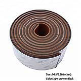 Toogou Bodenmatte aus Eva-Schaum, Rutschfest, Rückseite mit 3M-Kleber, Synthetisches Teakholz, für Boote, Kajak, 5.6x240cm Brown with Black Stripes