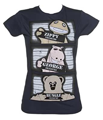 Ladies Navy Rainbow Mugshot Lineup T Shirt