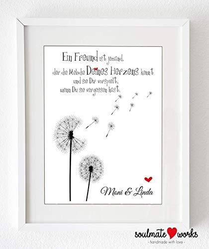 Personalisierter Kunstdruck für die beste Freundin Ein Freund ist jemand.