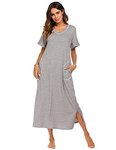 Baumwoll-nachthemd (Damen Nachthemd Baumwolle still pyjama lang weich frauen schlafkleid V-Ausschnitt Nachtkleid sommer)
