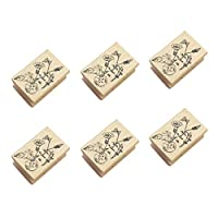 نوبيست طوابع خشبية مطاطية حيوانات ونباتات أنماط طوابع لنمط اصنعها بنفسك لوازم سجل القصاصات 6 قطع (توصيل عشوائي)