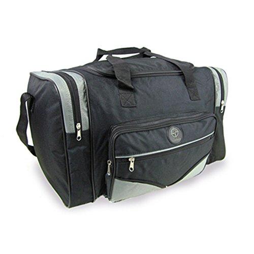 Fashion Essentials-Zwei Seitenfächer und zwei Taschen Reißverschluss holdall Taschen (BLACK GREY) BLACK GREY