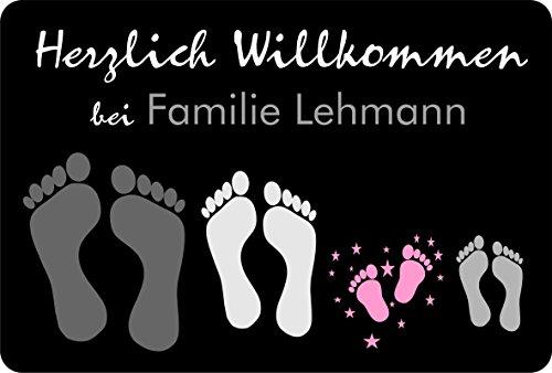 Verlag HE Fußmatte Füße/Pfoten (Anzahl frei wählbar) | personalisiert | Name | lustig | schwarz | Geschenk | Hund | Katze