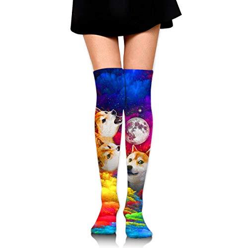 Nifdhkw Three Doge Women's Knee High Socks Fancy Design, Best for Running, Athletic Sports,Yoga.
