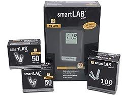 smartLAB mini (mmol/L) Blutzuckermessgerät Bundel in Scheckkartenformat mit 100 Blutzuckerteststreifen und 100 Lanzetten.