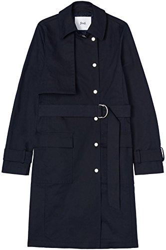 FIND Mantel Damen Trenchcoat Style mit asymmetrischem Cape und Gürtel Blau (Navy), 34 (Herstellergröße: X-Small) - 5
