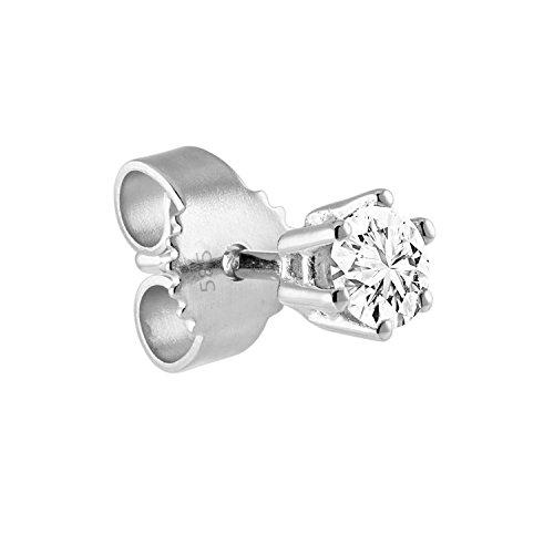 Diamond Line Herren - Ohrstecker 585er Gold 1 Diamant ca. 0,10 ct., weißgold