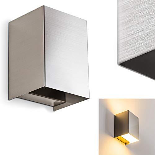 LED Wandleuchte Zabrat - Metall-Lampe in Nickel Matt im quadratischen Design - mit Up & Down-Effekt - LED Wandlampe mit 3000 K - 450 Lumen - ideal als Wohnzimmerlampe - Flurlampe - Moderner Flurspot - Quadratische Metall-wand-lampe