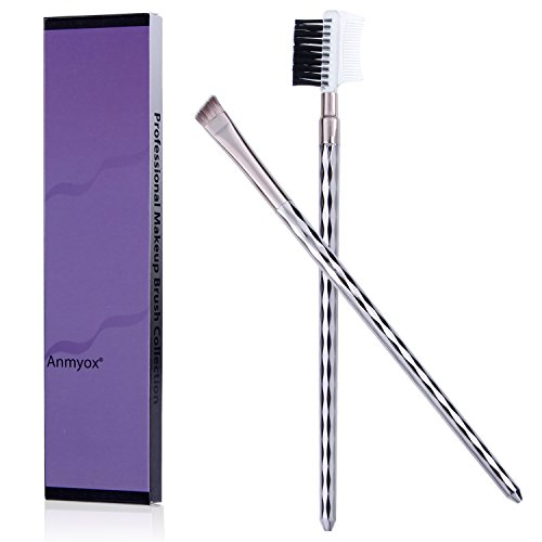 Anmyox 2 pcs, ensemble synthétique de brosse à sourcils cosmétique de Kabuki de qualité, kit d'outil de brosse de maquillage d'oeil