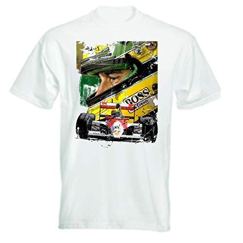 F1 Ayrton Senna Artwork White Graphic Tee Shirt Mens Round Neck Short Sleeves Cotton T-Shirt Bottoming T Shirt Fashion Tops Casual Clothing -