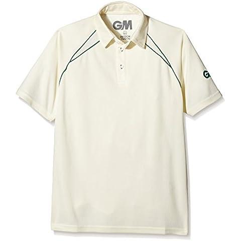 Gunn and Moore Teknik Club de niño de manga corta camiseta de Cricket, Niños, Teknik Club, beige/verde