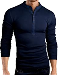 Grin&Bear coupe slim Granddad Stehkragen Shirt, BH121