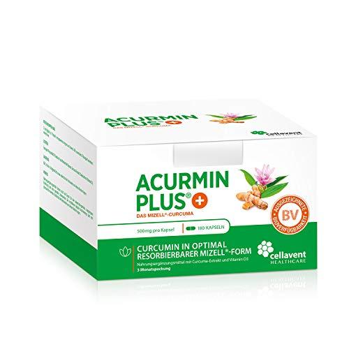 Kurkuma Kapseln hochdosiert von Acurmin PLUS: Das Mizell-Curcuma (Curcumin) - C14-Zertifiziert - mit Vitamin D3, OHNE Piperin/Bioperin/Pfeffer von Cellavent Healthcare - 180 Kurkuma Kapseln -