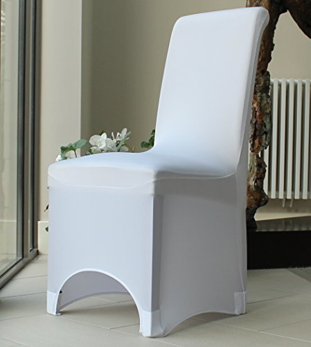 Covering All Occasions Stretch Fit Chair Cover for Dining Room   Arched Fronted   White Black Ivory Beige (50, White)