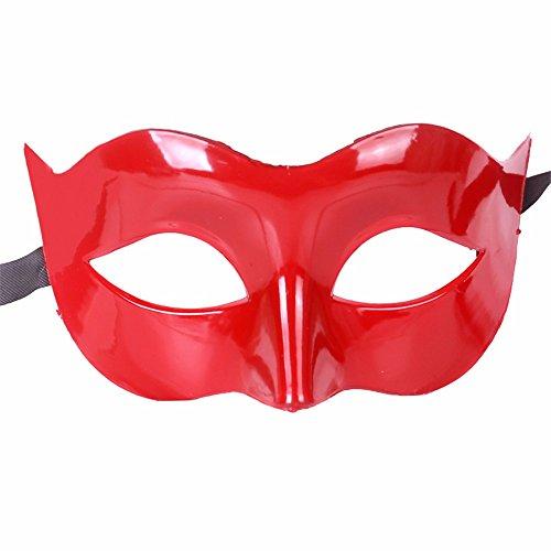 ,Halloween Kostüm Tanz Maske halbes Gesicht Tanz Maske Flache Maske männliche Maske weiblich rot Masquerade ()